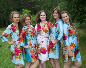 Light Blue Large Floral Blossom Silk Bridesmaids robes | Kimono Style getting ready robes, Satin Robes, Gifts, Bridesmaid Robes, Silky Robes