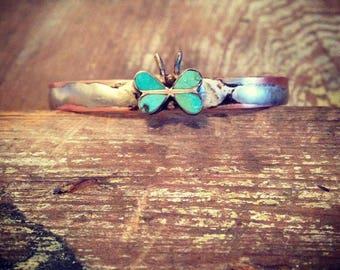 Upcycled Vintage Butterfly Turquoise Bracelet Cuff