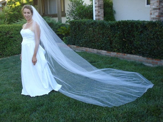 Cathedral Length One Tier Bridal Veil 120 inches Clean Cut