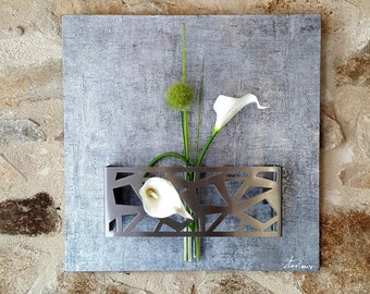 Gray floral wall painting with white lilies