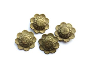 4 Flower Brass Antique French Buttons 1930- 1940, 29mm