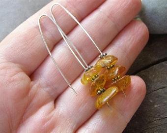 Amber Earrings in  Sterling Silver, Long Hook Earrings
