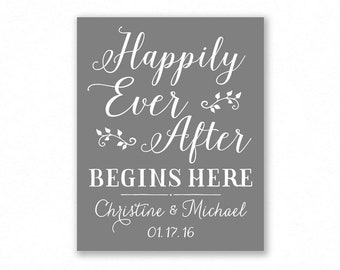Grey Printable Happily Ever After Begins Here Wedding Sign, Rehearsal, Shower, Engagement, Personalized (#HAP3Y)