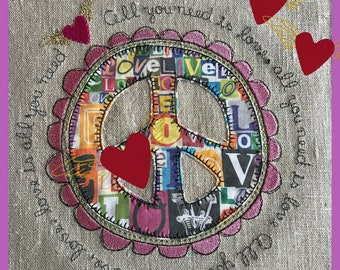 APPLIQUÉ Peace-signs with text - 5 Appliqué Machine Embroidery Designs: Peace signs with text and a winged heart, 9 designs in total