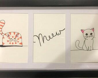 Hand Drawn Minimalist Kitty Art