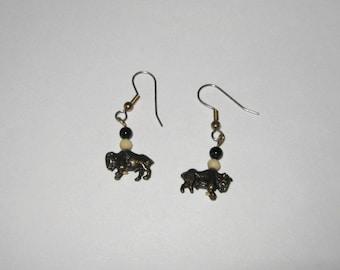 Southwestern  Earrings, Buffalo Charm Earrings, Stainless Steel French Hooks, Brass Buffalo Earrings