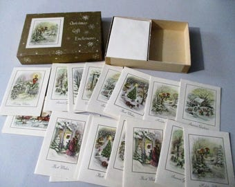 Box Vintage Christmas Gift Enclosures Cards 18 With Envelopes Unused