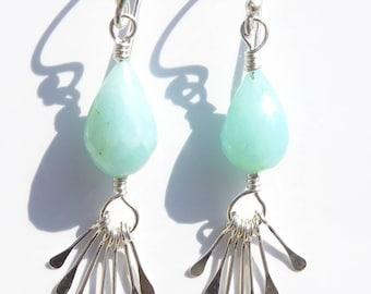 Peruvian Blue Opal Earrings, Sterling Paddle Earrings, Blue Opal Gemstone Earrings, Blue Gemstone, Sterling Wire-wrapped Earrings