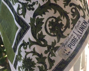 Vintage tea towel Parisian Prints All Pure Linen green white print 1960's-1970's USA