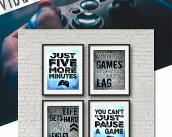SET OF FOUR Video Game Posters - Xbox - Blue - 8x10 - A4 - Xbox Controller - Xbox Bedroom - Gamer - Teen boy bedroom - game room wall art  sc 1 st  Etsy & Teen boy wall art | Etsy
