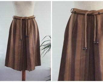 SALE Brown Rope Belted Stripe Wool Skirt UK 10-12