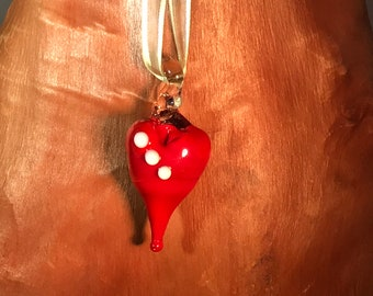 Handmade lampwork red and white glass focal bead