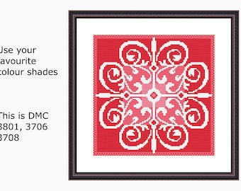 Cross Stitch Pattern, Modern Cross Stitch - FLOWER BURST cross stitch chart, Instant download PDF