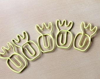 Pineapple Paperclips - Set of 5 - Yellow Planner Paperclips - Bookmarks - Planner Stationery Accessories