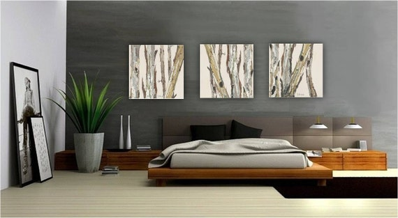 Extra Large Wall Art Oversized Triptych Set Dining Room Neutral Decor White Huge  Canvas Print Tree Trunks Pastels White Living Room Artwork