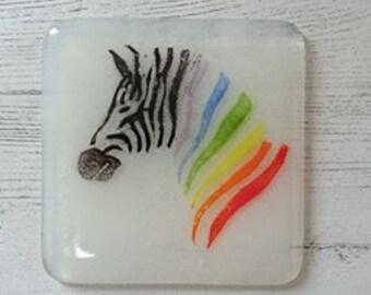 Zebra Fused Glass Coaster, Rainbow Zebra Coaster, Drinks Coaster, Fused Glass Drinks coasters, Drinks Mats, Wildlife Coaster