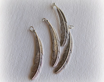 """""""Feather"""" charms 5.5 X 1 cm antique silver - 1 piece or 2 X."""