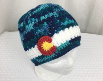 Crochet Blue Camouflage, Colorado Beanie- Baby, Child, Teen, Adult sizes, Colorado hat, Colorado flag hat, Colorado, Ski hat, Camo