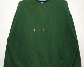 Vintage Benetton United Colors Of Benetton Big Logo Sweater Sweatshirt Made in italy