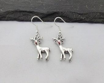 Reindeer Earrings, Christmas Earrings, Christmas Jewellery, Xmas Earrings, Charm Jewelry, Christmas Gifts, Xmas Gift, Stocking Fillers