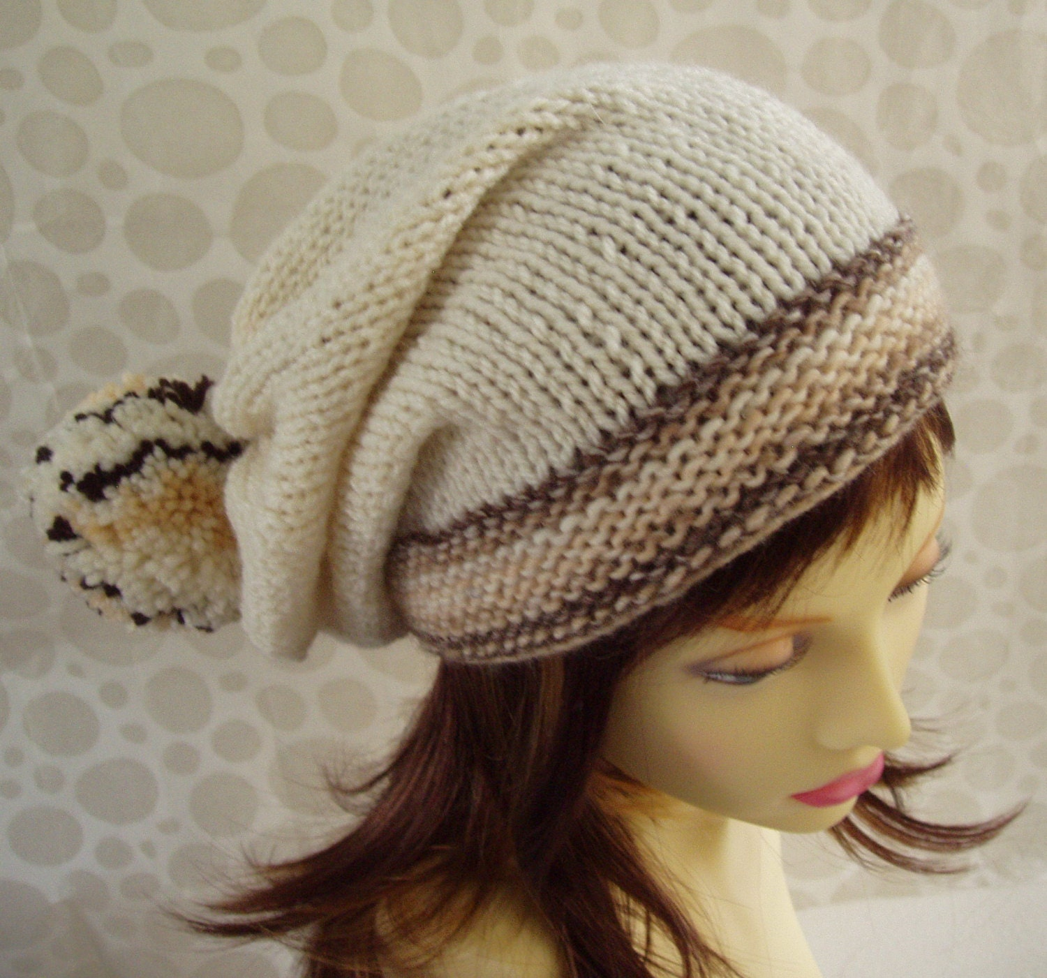 KNITTING PATTERN/MARTA Slouchy Knit Hat with Giant Pompom/