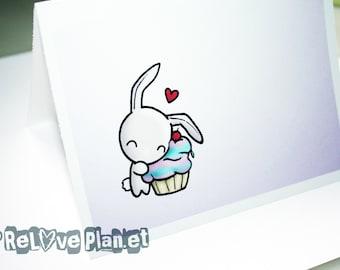 Cute Cupcake Bunny Rabbit Blank Card - birthday anniversary congratulations anything - ReLove Plan.et Art Print