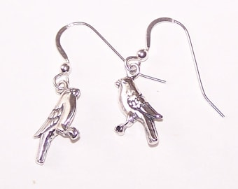 Sterling Silver BIRD  Earrings -  French Earwires -  Wildlife, Nature