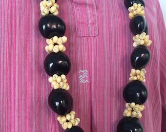 1960s Beaded Necklace, Vintage Hippie Necklace Shell Beads Necklace Tagua Nut Vintage Necklace Ethnic Tribal Bohemian Vintage 60s Adjustable