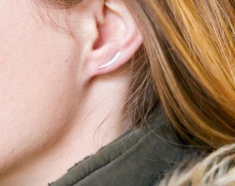 Sterling silver hammered ear climbers