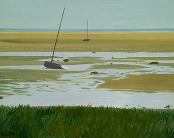 Sailboat at Low Tide - Fine Art Canvas Print, Cape Cod, Seashore, Beach Summer