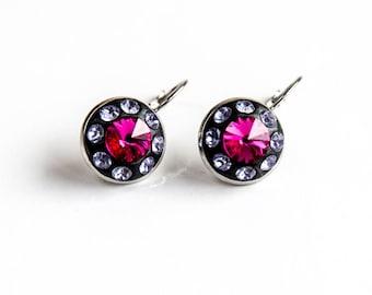 Pink drop and dangle earrings, Hot pink earrings, Fuchsia Swarovski earrings, Pink violet crystal earrings, Pink black Swarovski earrings
