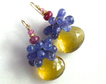 Lemon Quartz, Tanzanite, Pink Sapphire Focal Drop Earrings in 14k Gold Fill...
