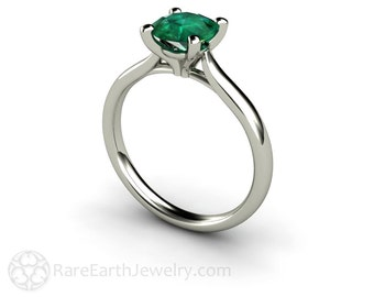 Emerald Engagement Ring Emerald Ring Round Solitaire 14K or 18K Gold Platinum May Birthstone