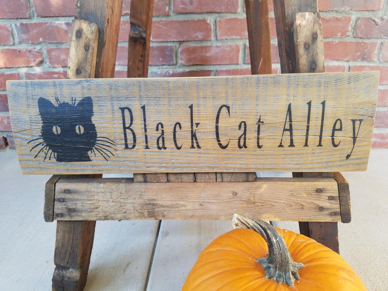 Katze Holz Zeichen. Katze-Dekor Halloween Katze Dekor