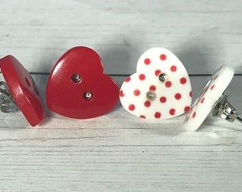Stud Red Heart Button Earrings, Polka Dot Heart Button Earrings, Valentine Earrings, Buttons Earrings, Shiny Earrings, Minimalist Earrings