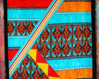 Southwestern, turquoise throw quilt