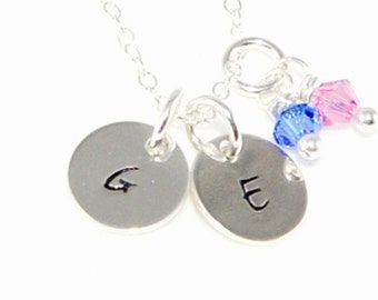 Two Tinny Initial with Birthstone - Hand Stamped Jewelry - Personalized Mommy Jewelry - Sterling Silver