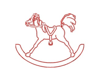 Sale 1.00 off rocking horse redwork embroidery design