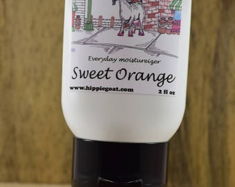 Sweet Orange lotion, goat milk lotion, natural lotion, body lotion, moisturizer, mango butter, shea butter, cocoa butter, olive oil, coconut