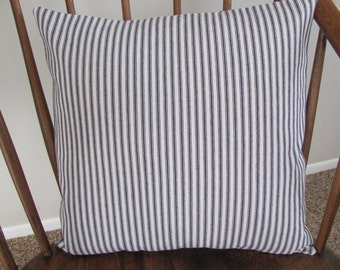 Blue Ticking Pillow Cover Cotton Twill
