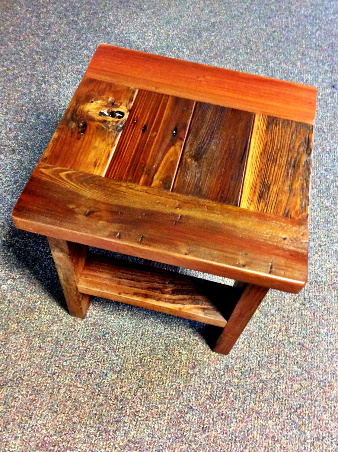 reclaimed wood end table or small square coffee table. Black Bedroom Furniture Sets. Home Design Ideas