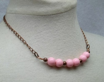 Vintage pink beads antiqued copper beads wire wrapped necklace recycle