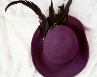 Purple felt hat, wide brim hat, boho sun hat, feather hat, festy hat, steampunk hat