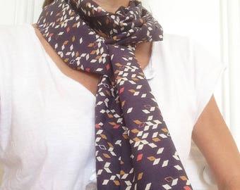 White, coral, mustard cotton scarf