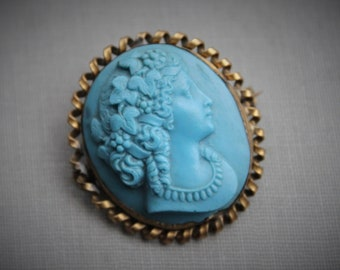 Victorian Turquoise Bacchante Paste Cameo / Antique 1800s Blue Maenad Cameo / Mythology Jewelry / Wine and Theatre / Grand Tour