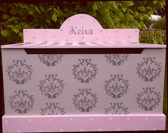 Carnival Toy Box Pink: Girls Toy Box Nursery Chest Damask Pink Grey Toy Benches