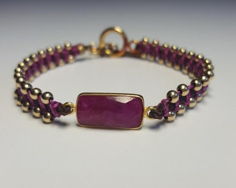 Ruby and gold friendship bracelet/Ruby, pink and gold bracelet/Fancy friendship bracelet