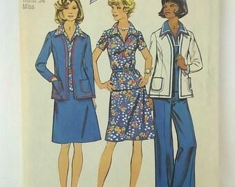 Vintage 1973 Simplicity 6167 Sewing Pattern Womens Jacket, Top, Skirt, & Pants