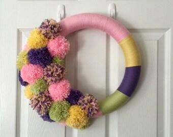 Pom Pom Wreath, Modern Spring Wreath, Modern Easter Wreath, Nursery Decor, Baby Girl Wreath, Yarn Wreath, Spring Decor, Baby Shower Decor