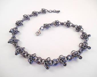Grey Persephone Choker - Matte Grey & Gunmetal Beaded Anodized Aluminum Persephone Chain Maille Choker